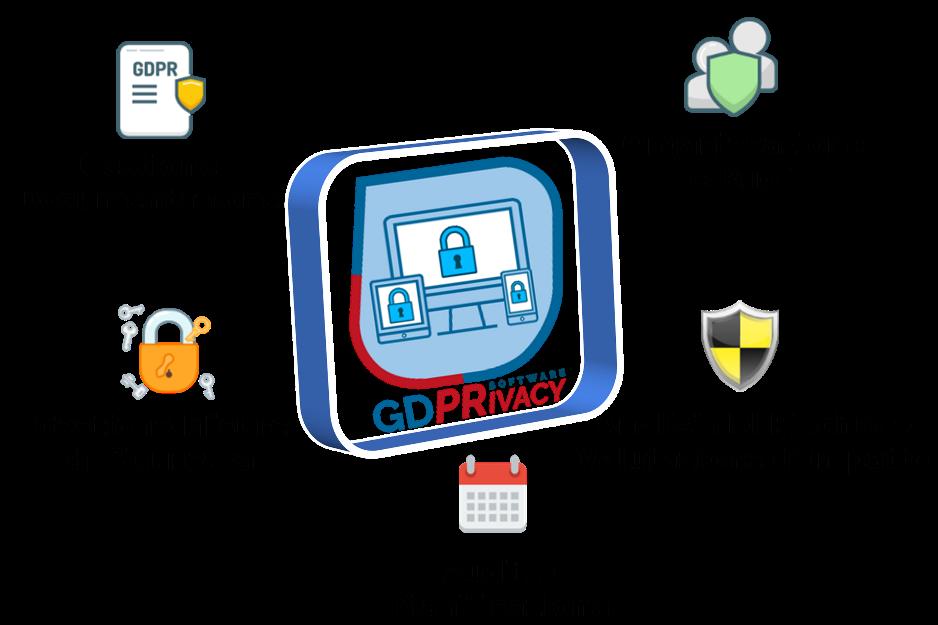 Privacy GDPR è un software web, veloce e semplice da usare, per gestire gli adempimenti richiesti dal Regolamento Europeo 2016/679 e che permette a Consulenti Privacy, Aziende, DPO e Enti Pubblici, di redigere e tenere aggiornato il registro dei trattamenti per l'attuazione concreta del principio di accountability introdotto dal GDPR.