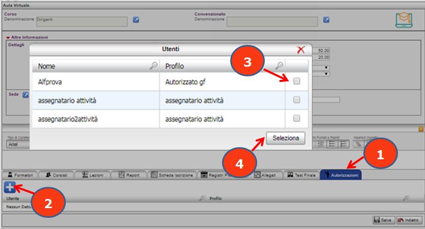 Per assegnare un'aula ad un utente e dargliene piena gestione basta: