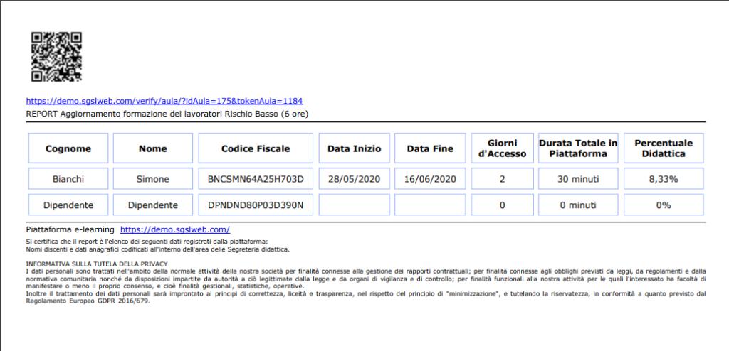 codice QR presente nel report o cliccando sul link, verrà visualizzata la pagina di verifica