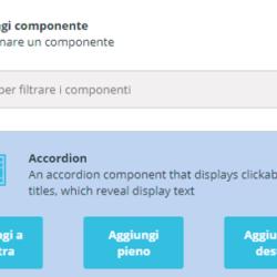 Cliccando su un componente viene chiesto dove posizionarlo all'interno del blocco: a destra, al centro (Aggiungi pieno) o a sinistra.