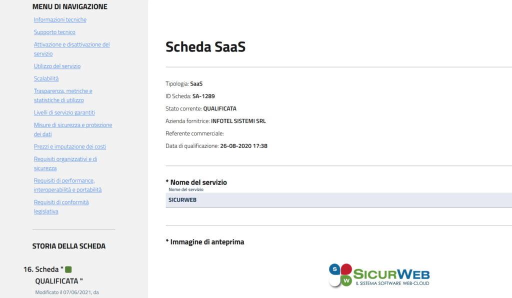 Tipologia: SaaS ID Scheda: SA-1289 Stato corrente: QUALIFICATA